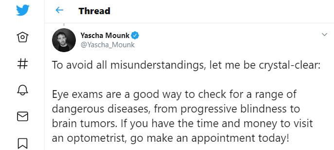 Yascha Mounk eye exam tweet